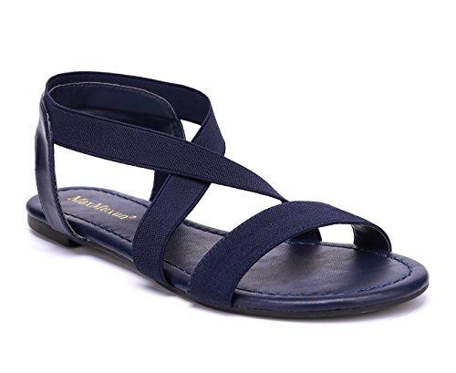MaxMuxun Damen Riemchensandalen Leichte Slingback Offene Sandalen Bequeme Schuhe Blau Größe 40EU