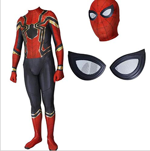 Kostüm Augen Iron Mann - TOYSSKYR Iron Spider-Man Complex 3 Cosplay Kostüm für Erwachsene Elastic Tights Movie Game Costume Props (Color : A, Size : S)
