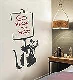 wandaufkleber sterne rosa Banksy - die Friedensratte Geh zurück ins Bett