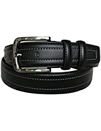 sourcingmap Men Black Single Pin Buckle Dress Leather Belt with Stitch Edge Width 1 1/2