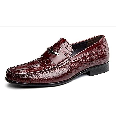 WZG mocasines de cuero zapatos de cuero de los zapatos de los hombres de negocios de cocodrilo negro de Nueva Inglaterra de los hombres sub 9.5 , brown , 43