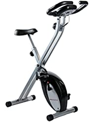 Ultrasport F-Bike, Bicycle Trainer, Home Trainer, Collapsible Exercise Bike with Training Computer and Hand Pulse Sensors