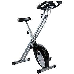 Ultrasport F-Bike - Bicicleta estática, aparato doméstico, bicicleta fitness plegable con consola y sensores de pulso en manillar, negro