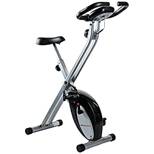 Ultrasport F-Bike, Bicycle Trainer, Home Trainer, Collapsible Exercise Bike with Training Computer and Hand Pulse Sensors, Black/Silver