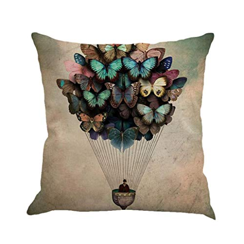 Ode_Joy Farfalla Cuscino in Lino Throw Waist Pillow Case Sofa Home Decor-Pillowcase Chiusura Nascosta Decor Cover Design Campione Gettare per Auto-Cuscino del Festival della Decorazione Domestica