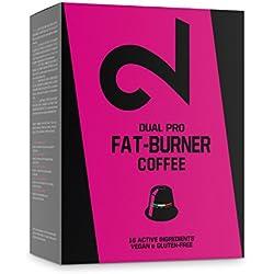 DUAL Pro Fat-Burner Coffee Café Quemagrasa 100% Natural Sin Aditivos Para Pérdida de Peso Adelgazante Para Hombres y Mujeres  10 Cápsulas Veganas Compatibles Con Nespresso Certificado Hecho en la UE