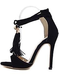 NobS Moda SeñOras Womenpopular Banded Borla Suede Hueco Tacones Altos Impermeables Sandalias Mujer Zapatos Casual , black , 36