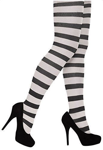 (Adult Halloween/Fancy Dress Black And White Stripy Tights)