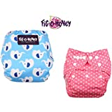 Fig O Honey Reusable New Born Baby Cloth Diapers | Multi-Color Baby Cloth Nappy With Free Absorbent Inserts | Washable Elastic Cloth Diapers | Reusable Elastic Printed Cloth Diapers | ( Pink Pola Dots & Elephant Print Combo )