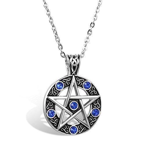 Flongo Collar hombre colgante de moneda grande, Estrella azul colgante de amuleto clásico, Retro vintage collar gótico, Con cadena larga 55cm, Regalo de Navidad