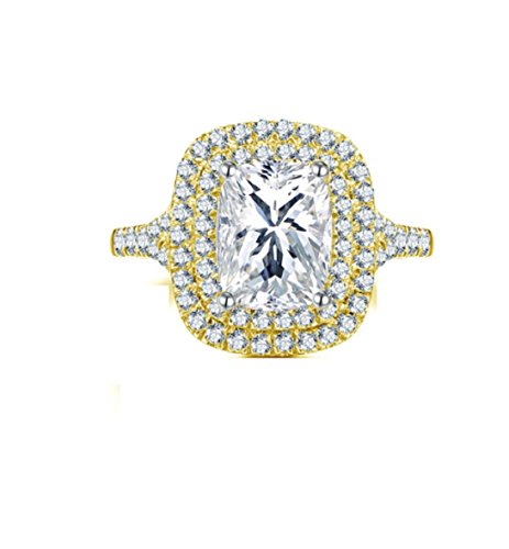 Gowe 10K Gelb Gold Hochzeit Ring 2,5CT 2Zeilen Halo Simuliert Diamant Band Rechteck Schnitt
