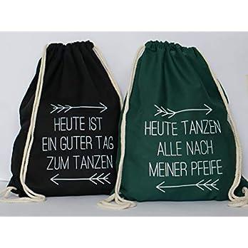 Set aus 5 Turnbeutel JGA Rucksack für Junggesellenabschied; 1 Brautbeutel und 4 Beutel für die Mädels, dunkelgrün/schwarz