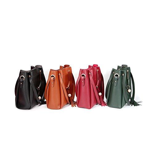 Yvonnelee Damen Einfach Leder Henkel Tasche Elegant Handtasche Schultertasche Grün