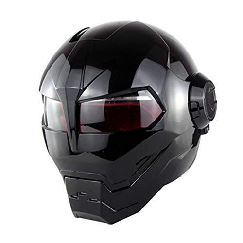 AMZ BCS Erwachsene Harley motorradhelm dot Zertifiziert Motocross kreative Sicherheit helme Moto Full face persönlichkeit enthüllte helme Bright Black (m, l, XL),Black,M -