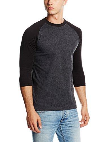 Urban Classics TB366 Herren 3/4 Sleeve Bekleidung T-Shirt, Mehrfarbig (charcoal/schwarz), XXL (3/4 Sleeve Schwarz Shirt)