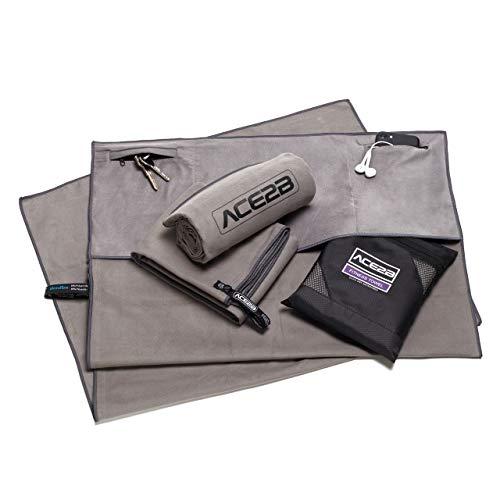 ACE2B Fitness Sport Handtuch Mikrofaser - schnelltrocknend, platzsparend, leicht / 2 Taschen mit Überzug für Gerätetraining, Fitnessstudio, Gym / 120x55cm XL groß