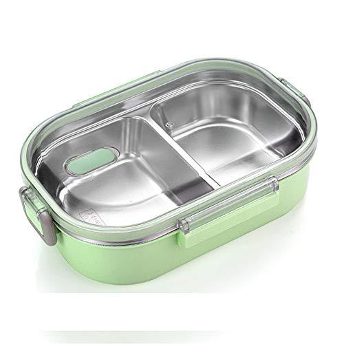 iHouse Brotdose Brotdose aus Edelstahl 304, versiegelt und auslaufsicher, tragbare Brotdose mit Fach, Lebensmittelbehälter für Erwachsene, 700 ml, 21 x 12 x 8 cm, grün -