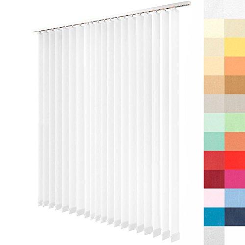 Lamellenvorhang nach Maß, 27 Farben, alle Größen, Lamellen, Maßanfertigung, Schiebevorhang, ohne Deckenschiene, Vertikaljalousie, 89 mm (Weiß, Höhe: 205cm x Breite: 133,5cm = 15 Lamellen)