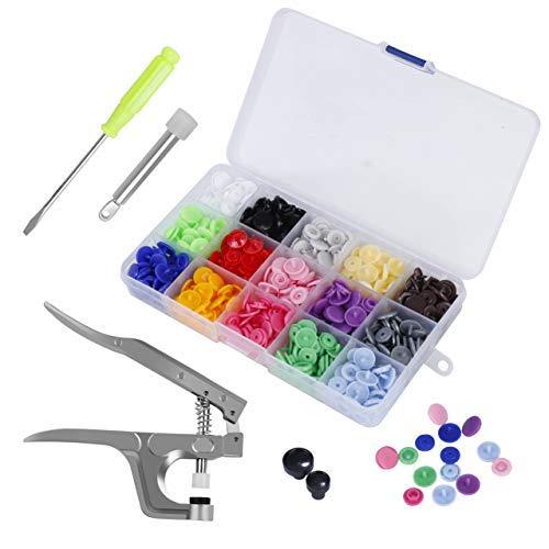 150 Stücke Druckknöpfe T5 Snaps Zange set in 15 Farben mit Organizer Aufbewahrungsbehälter für DIY Basteln -