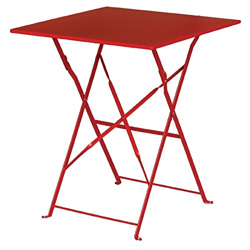 Bolero Table carrée style Trottoir en acier rouge Dimensions 710 (H) x 600 (L) x 600 (d) mm