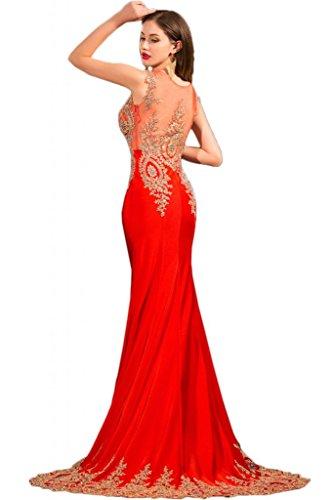Sunvary Damen Neu Abendkleider Chiffon Partykleider Bodenlang mit Strasse Rot