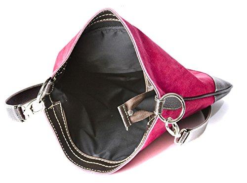 Big Handbag Shop - Borsa a tracolla da donna, stile messenger, in vera pelle scamosciata italiana, sintetica, con finte cuciture Light Taupe (BR103)