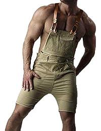 Kasonj Pantalones Cortos de Tirantes Casuales de los Hombres Diseño de la Manera Desmontable Cremallera Dos Estilo Delgado Mid-Overalls Babero Jeans