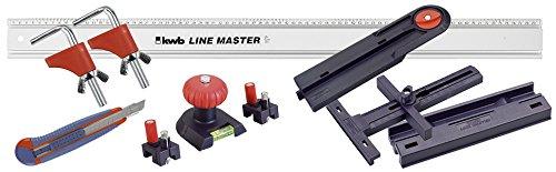 kwb Präzisionslineal Line Master Set 783408 (Lineal mit Messerführung, Sägeführung, Winkelanschlag, Wasserwaage und Bohrpunktmarkierer) (Mit Skala Schienen)