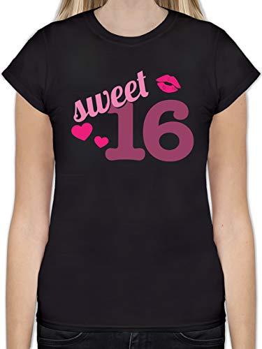 Geburtstag - Sweet 16 - M - Schwarz - L191 - Tailliertes Tshirt für Damen und Frauen T-Shirt
