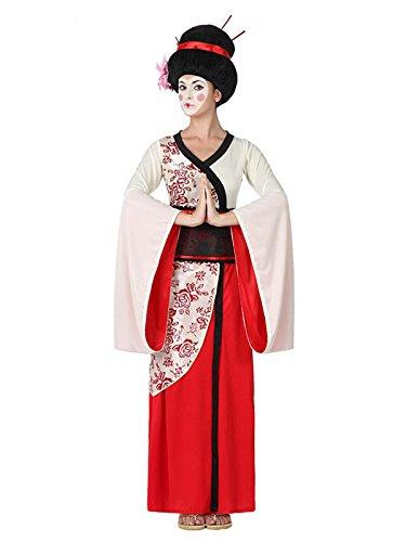 Edle Geisha Damenkostüm Kimono rot-weiss XS / (Geisha Kostüme Make Up)