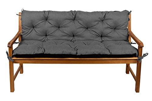 Bankauflage Hollywoodschaukel Bankissen Set Sitzkissen + Rückenlehne 130x60x50 (3 Dunkelgrau) (Rückenlehne Sitzkissen Und)