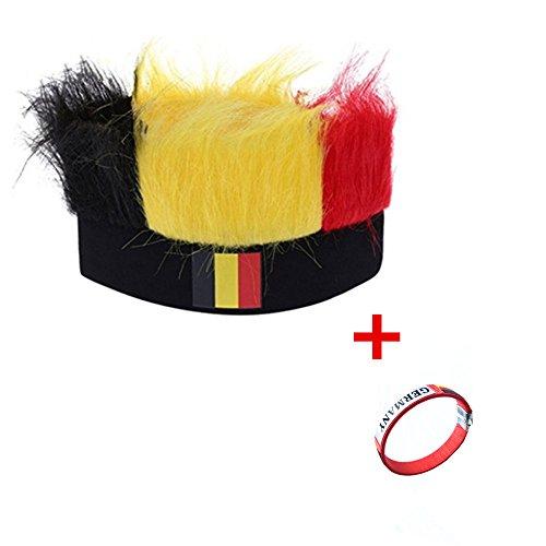 (EBSHOW Weltmeisterschaft 2018 perücken fußballfans bündchen nationalflaggen hüte Kopfbedeckung.England, Deutschland, Frankreich, Spanien - Fan - Hut (Schwarz).)