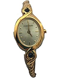 Fontenay Montre à bracelet en chaîne de cordes en or 18 carats avec diamants et 2 pierres précieuses saphir