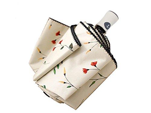 Cuby Regenschirm, Automatic Opens and Closes Automatically, sturmsicher wasserabweisende, Mini, Leicht & Kompakt (Weißer Griff)