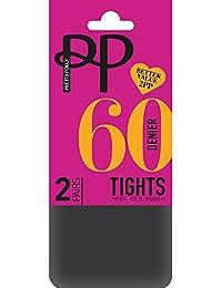 6cb68c2b02ad Pretty Polly 60 Denier Opaque Tights with Silk Finish (2 Pair Pack) Black