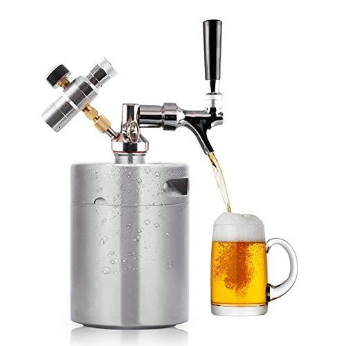 TOOGOO 3.6L Edelstahl Bier Fass mit Wasserhahn Druck Wein Shaker Haus Bier Brauen Handgemachtes Bier Spender Growler Bier Fass System