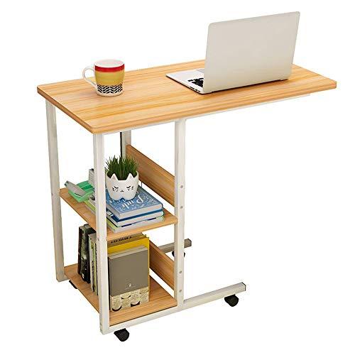 Mesa para computadora portátil Junto a la Cama Dongy con Ruedas Mesa Auxiliar para el sofá con Estante de Almacenamiento, Escritorio Grande, 80 * 40 * 75 cm (Color: Nogal)