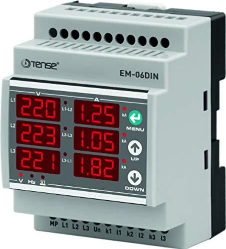 Tense EM-06DIN Einbaumessgerät Multimeter zur Messung von Strom (100mA-5A), Spannung und Frequenz in 3-Phasigen Netzwerken - DIN-Schiene Hutschiene digital- Messbereich erweiterbar