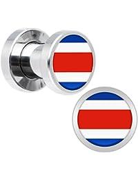 15c9d6b6a233 Cuerpo Caramelo Acero Inoxidable Costa Rica Bandera Ajuste Tornillo Doble  Borde Bujía Par 4 Calibrador