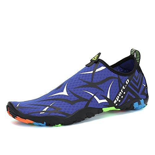 Voovix Calcetines de Agua Transpirable Aqua Unisex Zapatos de Agua Descalza de Secado Rápido Zapatillas Livianas para Nadar Yoga Surf Beach Shoes Hombres Mujeres(Blue,41)