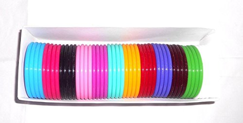 Goelx Plastic Colourful Bangles for Kids/Girls/Womens - 48 MultiColoured Bangles Set - Bangle Size 1.4