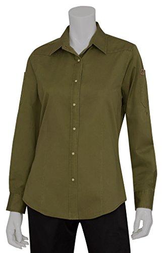 Chef Works slwdc005-bro Damen Solid Long Sleeve Denim Shirt, SLWDC005-CLO-L -