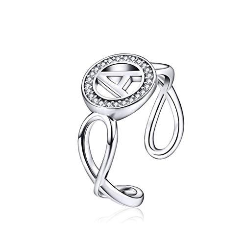 Anello da donna, lettera grande in argento sterling 925 un disegno originale, apertura regolabile gioielli con anello