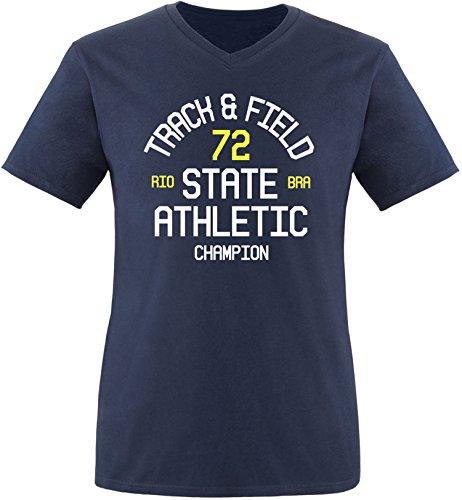 EZYshirt Track & Field Herren V-Neck T-Shirt Navy/Weiss/Gelb