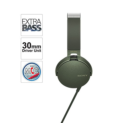Sony MDR-XB550AP On-Ear Extra Bass Headphones with Mic (Green)
