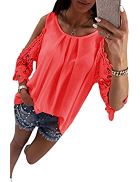 Mupoduvos La Mujer Casual Hombro Frio Lace Patchwork Loose T Shirt Top Tee Blusa