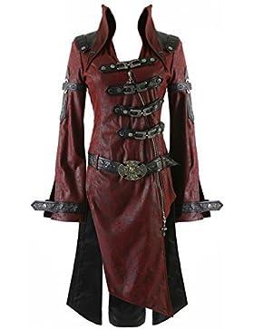 Punk Rave sombra chaqueta para hombre rojo negro fangbanger Steampunk perchero de pared de piel sintética