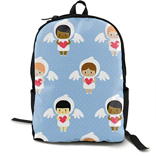 Kawaii Angels (blue) Adult Premium Travel Backpack, Water-Resistant College School Bookbag, Sport Daypack, Outdoor Rucksack, Laptop Bag for Men&Women