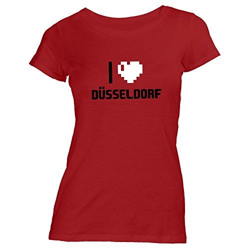 Damen T-Shirt - I Love Düsseldorf - Deutschland Reisen Herz Heart Pixel Rot