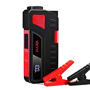 WZTO Arrancador de Coche y Cargador de Batería Portátil 20000mAh 1200A con Doble USB Salidas, Cable de Pinzas, Pantalla LCD y Luz de Flash LED, Jump Starter 12V – hasta 6.5L Gas o 5.0L Diesel
